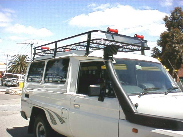 Roof Rack Fitted To 70Series Troopcarrier Combined With Mesh, Wind  Deflector U0026 Boat Roller Kit